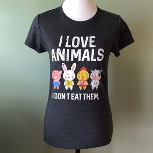 I love animals I don't eat them tee shirt small